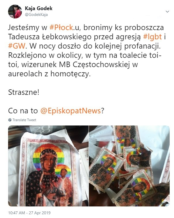 Płock Prawica Reaguje Na Plakaty Z Tęczową Matką Boską